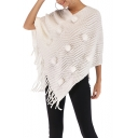 Womens Fancy Pompom Embellished Fringed Hem Poncho Knitwear