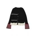 New Stylish Black Colorblocked Flared Long Sleeve Ruffled Hem Cardigan Knitwear