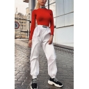 Womens Street Style Unique Letter Elastic Waist Gathered Cuff White Sport Track Pants