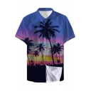 Summer Holiday Trendy Blue Tropical Coconut Pattern Short Sleeve Beach Shirt for Guys