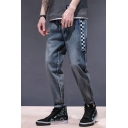 Men's Cool Fashion Contrast Checkerboard Pattern Blue Tapered Jeans