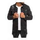 Men's Vintage Plain Ripped Long Sleeve Lapel Collared Button Front Long Denim Jacket