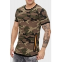 Summer Stylish Camo Pattern Round Neck Short Sleeve Slim Fitted T-Shirt For Men