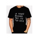 Summer Funny Letter IF YOU RE RE ADING Letter Short Sleeve Round Neck Loose Black T-Shirt