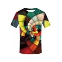 Men's Summer Stylish Screw Geometric Pattern Round Neck Short Sleeve Casual T-Shirt