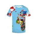Men's Stylish Funny National Flag Earth Pattern Round Neck Short Sleeve Casual Blue T-Shirt