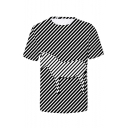 Summer Stylish Zebra Striped Pattern Round Neck Short Sleeve Casual Black And White T-Shirt