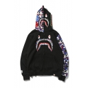 Unisex Popular Fashion Colorblock Camouflage Cartoon Shark Printed Trendy Full Zip Casual Hoodie