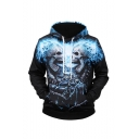 Men's New Fashion Blue Fire Skull 3D Printed Long Sleeve Black Pullover Drawstring Hoodie