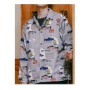 Guys New Trendy Funny Shark Comic Print Button Down Lapel Collar Hip Hop Loose Overcoat