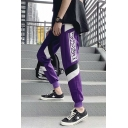 Men's Street Trendy Letter Printed Colorblock Stripe Patched Casual Loose Track Pants