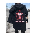 Guys Fashionable Figure Print Long Sleeve Open Front Longline Hooded Black Trench Jacket