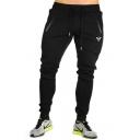 Mens Popular Fashion Letter Logo Printed Zipped Pocket Drawstring Waist Joggers Sweatpants Sports Pencil Pants