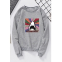 Cute Cartoon Shark Letter SWEET DREAMS Printed Long Sleeve Round Neck Trendy Sweatshirts