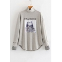 New Leisure FAUNDRY Letter Printed High Neck Striped Cuff Long Sleeve Loose Sweatshirt