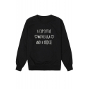 New Stylish Letter A CUP OF TEA Heart Letter Print Round Neck Long Sleeve Pullover Sweatshirt
