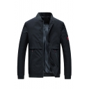 New Trendy Plain Long Sleeve Stand-Collar Zip Up Casual Workwear Jacket For Men