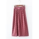 Womens Hot Fashion Polka Dot Midi Pleated Skirt with Belt