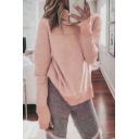 New Fashion High Neck Long Sleeve Plain Sweatshirt