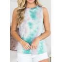 Trendy Womens Tie Dye Round Neck Short Sleeve Leisure Tank