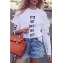 Womens Hot Stylish Round Neck Short Sleeve CUTE BUT CRAZY Letter Printed Loose T-Shirt