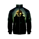 New Stylish Halloween Pumpkin Pattern Stand Collar Long Sleeve Black Baseball Jacket