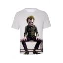 New Stylish Cool Joker Clown Print Short Sleeve Round Neck Casual T-Shirt For Men