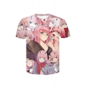 Summer Funny 3D Comic Anime Character Printed Short Sleeve Pink T-Shirt