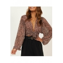 Womens Classic Leopard Pattern Sexy Plunge Neck Long Sleeve Bow Tide Pink Crop Blouse Top