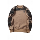 Mens New Fashion Camouflage Patched Round Neck Long Sleeve Casual Trendy Pullover Sweatshirts