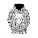 New Fashion Cartoon Cat 3D Printed Black and White Long Sleeve Casual Loose Hoodie