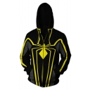 Hot Popular Spider 3D Printed Black and Yellow Long Sleeve Zip Up Cosplay Hoodie
