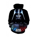 Star Wars Comic Character 3D Printed Drawstring Hooded Long Sleeve Black Pullover Hoodie