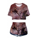 Hot Sale Die Twice 3D Print Patterns Short Sleeve Cropped T-Shirt with Dolphin Shorts Two Piece Set