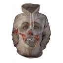 Halloween New Fashion Horrifying Zombie 3D Printed Long Sleeve Khaki Drawstring Hoodie
