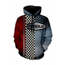 Torgue Checkerboard 3D Comic Cosplay Costume Long Sleeve Grey and Red Loose Drawstring Hoodie