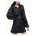 Womens Lapel Collar Long Sleeve Belted Button Down Mini Casual A-Line Shirt Dress