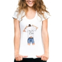 I'M A LOT COLOR Letter Figure Printed Round Neck Short Sleeve White Graphic Tee
