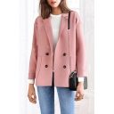 Loose Plain Notched Lapel Collar Big Pocket Double-Breasted Long Sleeve Jacket Coat