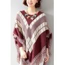 Ladies Fashion Geo-Tribal Print Tassel Hem Batwing Sleeve Round Neck Boxy Cape Sweater