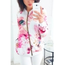 Autumn Fashion Solid Color Floral Print Short Zipper Jacket Coat for Women