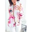 Autumn Fashion Solid Color Floral Print Short Zipper Jacket Coat for Women