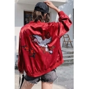 Embroidery Crane Printed Stand Up Collar Zip Up Red Easy Fit Baseball Jacket Coat