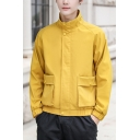 Men's New Stylish Simple Plain Zip Up Long Sleeve Stand Collar Casual Loose Jacket