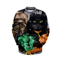 New Trendy Halloween Comic Print Stand Collar Long Sleeve Button Front Baseball Jacket