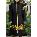 Cartoon ONE PIECE Character Cosplay Costume Longline Stand Collar Zip Up Black Trench Coat