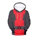 Hot Fashion Stripe Pattern Comic Cosplay Costume Long Sleeve Drawstring Pullover Hoodie
