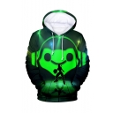 Hot Popular Comic Figure 3D Printed Green Long Sleeve Loose Fit Pullover Hoodie