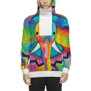 Couple Colorful Elephant Pattern Long Sleeve Zippered Side Pullover Hoodie