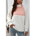 Trendy Chic Long Sleeve Stand Collar Button Front Color Black Fluffy Teddy Sweatshirt